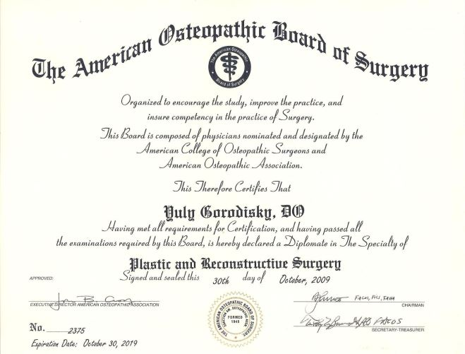 The American Osteopathic Board of Surgery Certificate